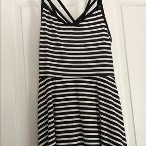 new strappy black and white striped PINK dress